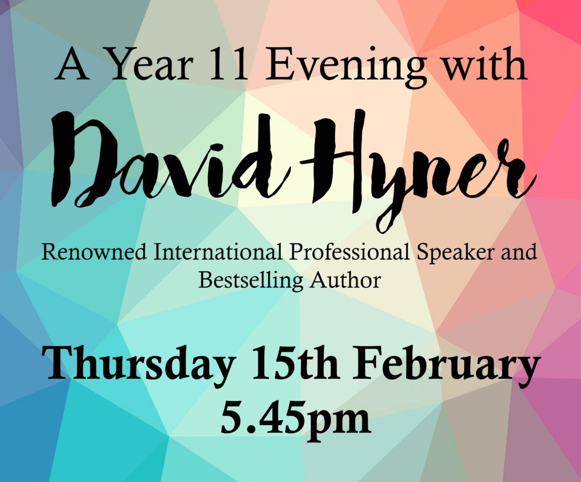 A Year 11 Evening with David Hyner
